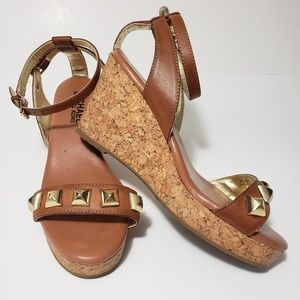 MK michael Kors Size 2 Cork Ankle Strap Stud Wedge